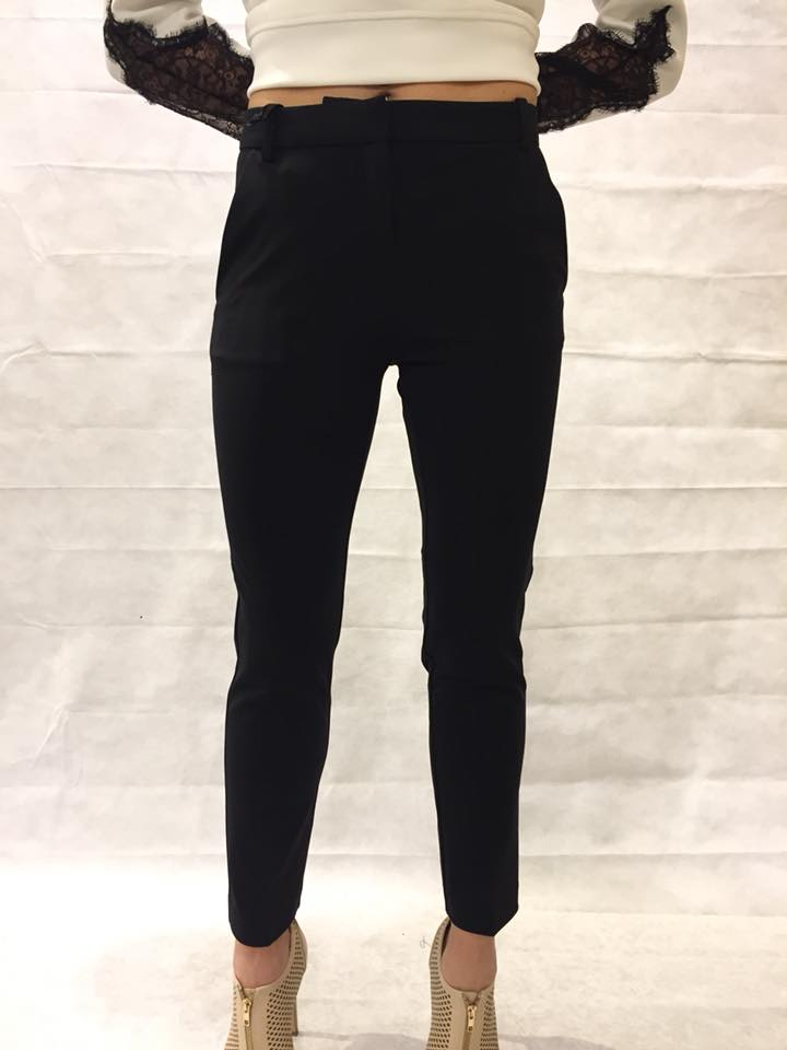 PINKO PANTALONE BELLO 66 CIGARETTE-FIT IN PUNTO MILANO TECNICO col. Z99 BLACK
