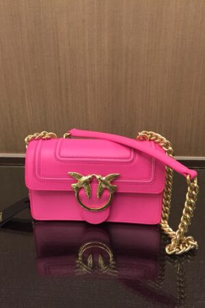 PINKO BAG MINI LOVE FLUO IN PELLE TRACOLLA CATENA col. Q44 ROSA FLUO