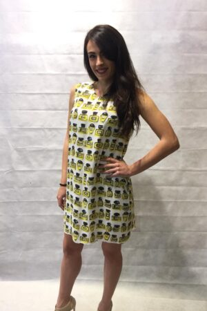BOUTIQUE MOSCHINO ABITO MIDI IN CREPE DE CHINE CON STAMPA PROFUMI ALL OVER col. 1002 BIANCO