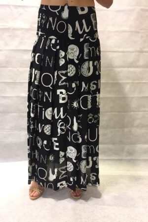 BOUTIQUE MOSCHINO GONNA LUNGA IN CREPE DE CHINE CON STAMPA ORNAMENTAL LETTERS col. 1555 NERO